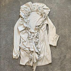 Gray ruffle cardigan